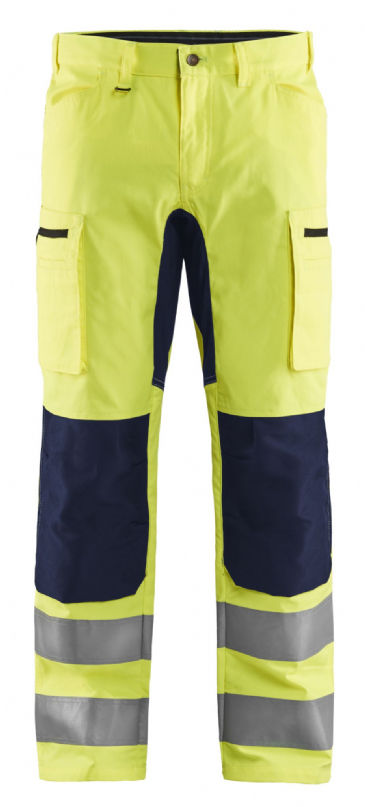 Blaklader 1585 Hi Vis Work Trousers with Stretch (Hi Vis Yellow / Navy)
